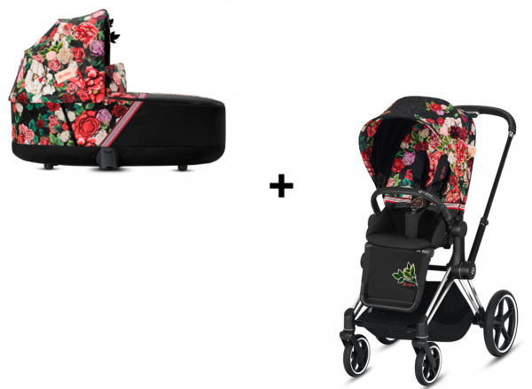 Cybex PRIAM Kombikinderwagen chrome / schwarz inkl. Seatpack und Carry Cot Spring Collection