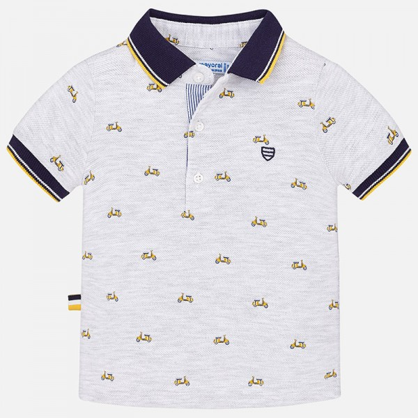 Mayoral Jungen Kurzarm Polo Shirt mit Allover Print, Gr 68
